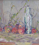 Marie Du Barry - Still Life: Pomegranates and Wine Bottle