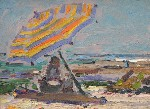 Clarence Hinkle - Untitled Beach Scene with Umbrella