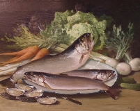 Thomas Hill - Still Life with Fish and Vegetables